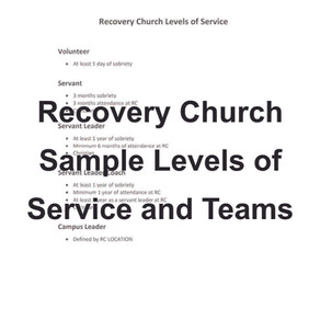 Sample Local Recovery Church Sample Team Roles, Levels of Service and Responsibilities.
