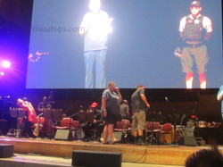 Techs & the band on stage
