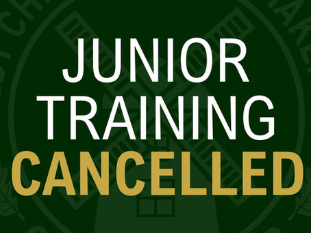 Junior Training Tonight Cancelled