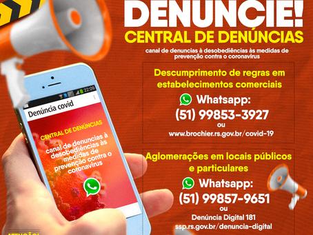 #COVID19   CENTRAL DE DENÚNCIAS