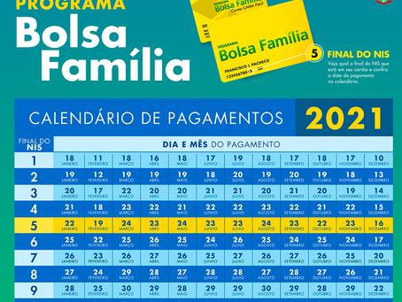 Divulgado o cronograma de pagamento do Bolsa Família para o ano de 2021