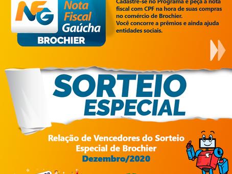 Nota Fiscal Gaúcha 2020 - Prêmio Especial de Dezembro.