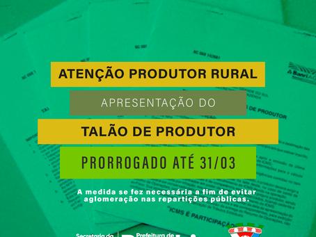 Secretaria da Agricultura prorroga prazo para apresentação de Talões de Produtor