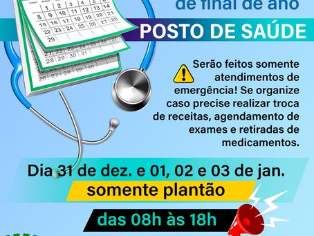 Secretaria de Saúde de Brochier comunica horários especiais durante o feriado de Réveillon