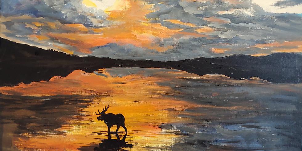 """Moose Sunrise"" @ Teton Springs"