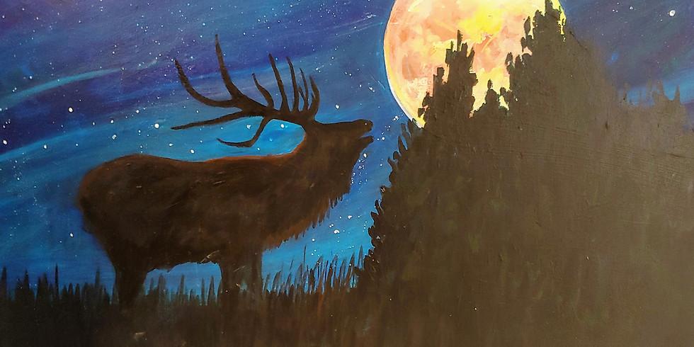 """""""Elk Buggling at the Moon"""" @ Online Interactive Class"""
