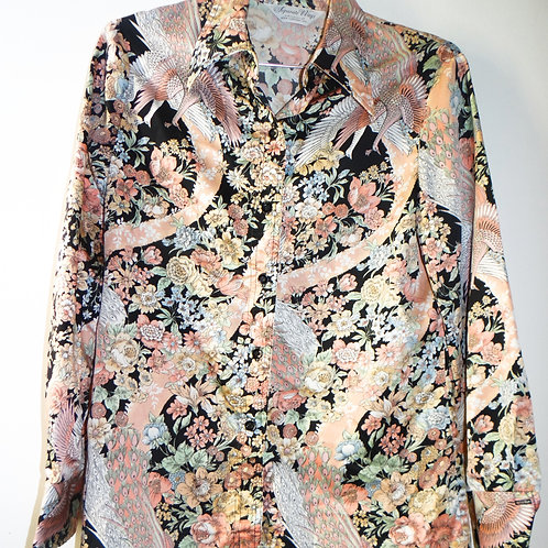 Pink and Black Floral Peacock Satin Button Blouse