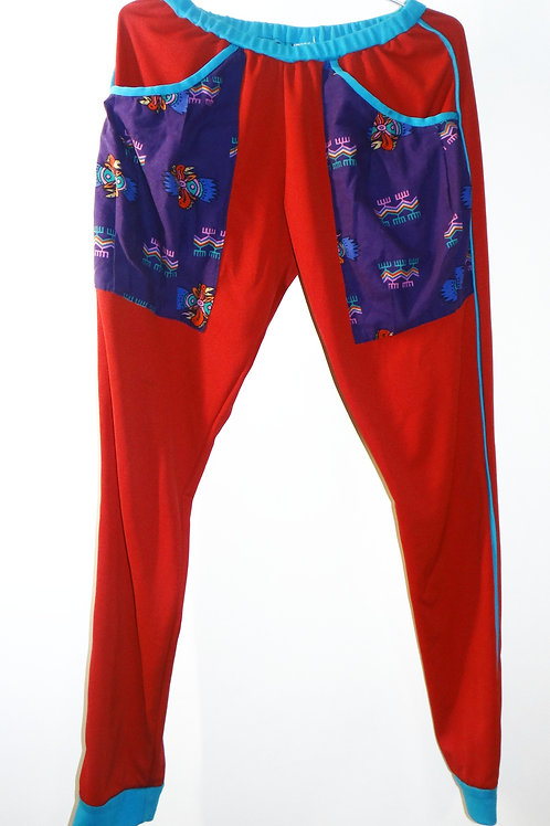 Red and Neon Blue Joggers with Print Pockets
