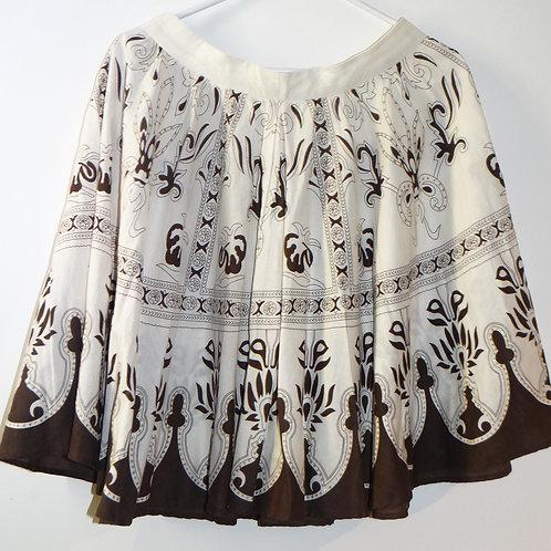Brown and White Bohemian Print Mini Ruffle Skirt