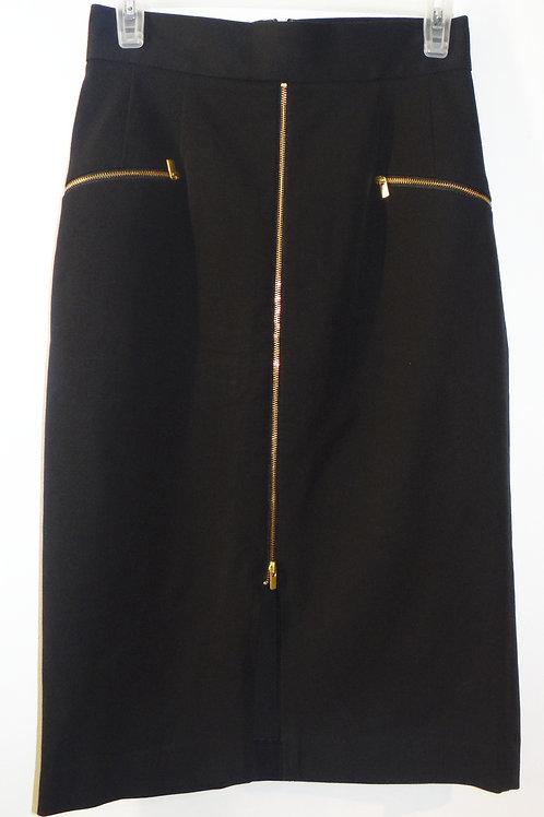 Body Con Black Zipper Tea Length Skirt
