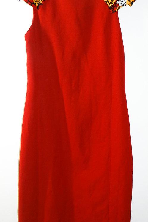 Red African Print Shoulder Ruffle Dress