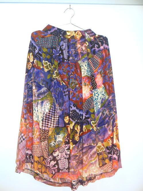 Vintage Floral Patch Print Psychedelic Skirt