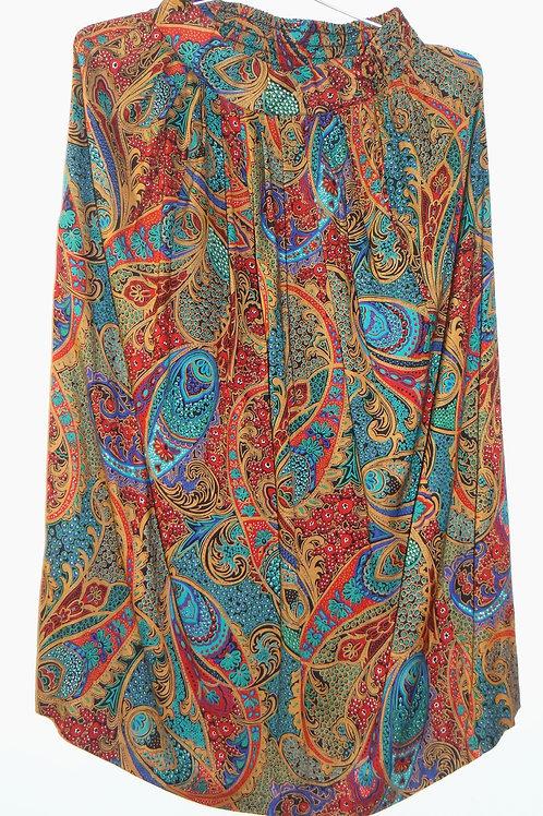 Vintage Bohemian Multi Color Paisley Floral Pleated Skirt