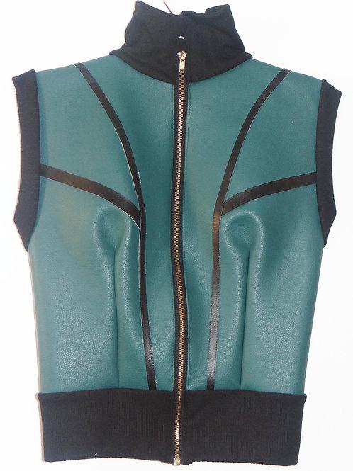 Cyberpunk Faux Teal Leather Zipper Vest