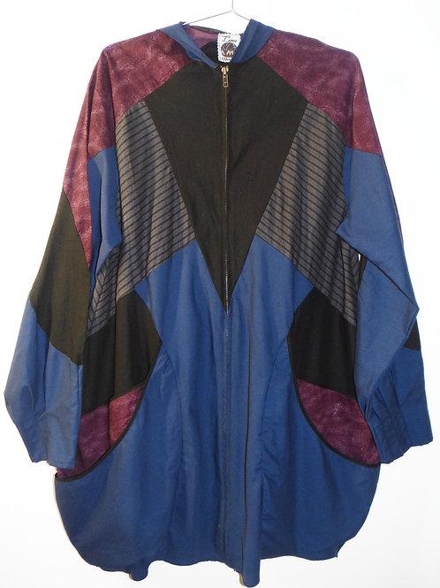 Multi Color Lightweight Piecework Zip Up Jacket