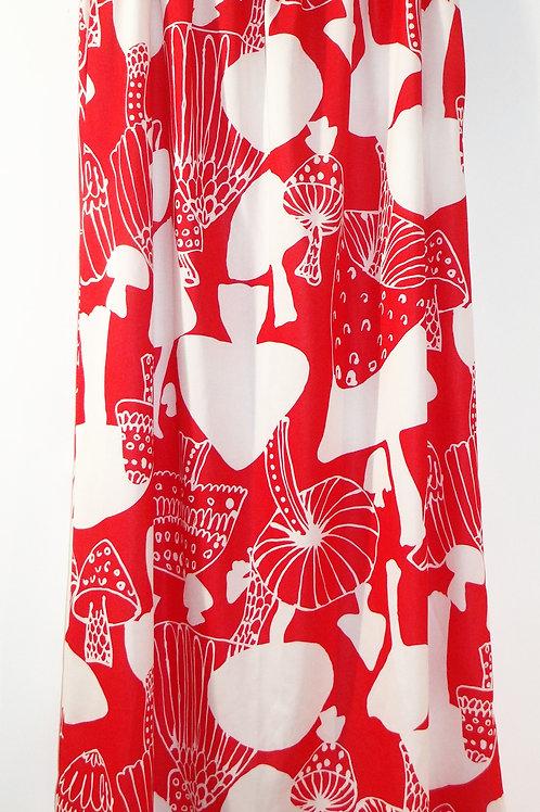 Handmade Vintage Red and White Magic Mushroom Print Maxi Skirt