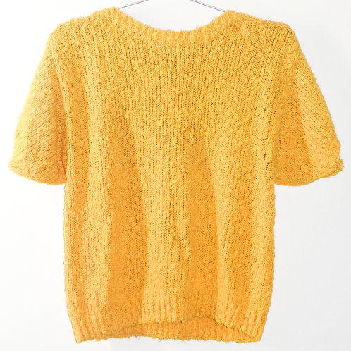 Sunshine Yellow Short Sleeve Knit Sweater Top