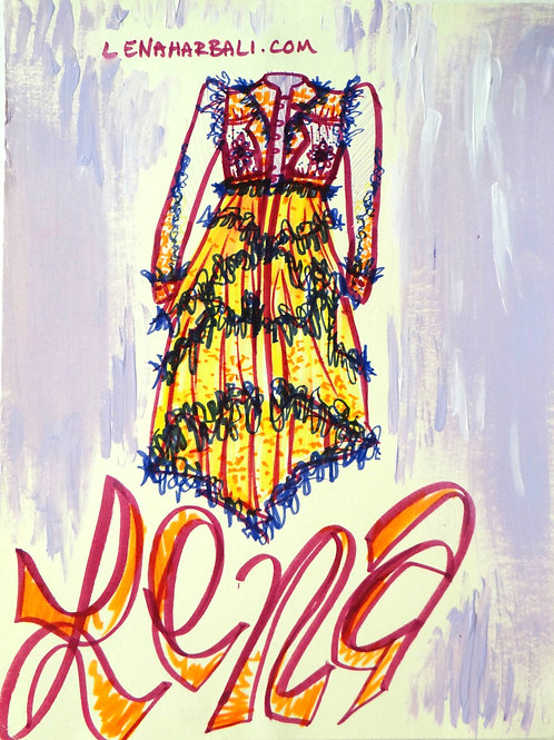 Beaded Jacket Marker Fashion Illustration