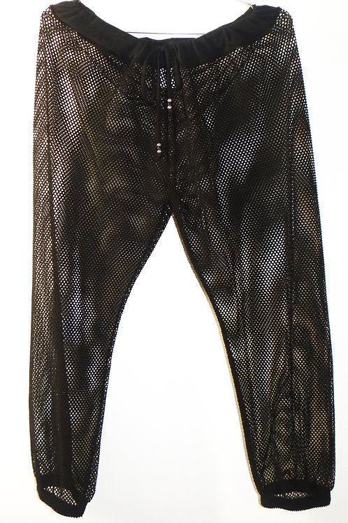 Black Stretchy Sheer Mesh Drawstring Jogger Pants