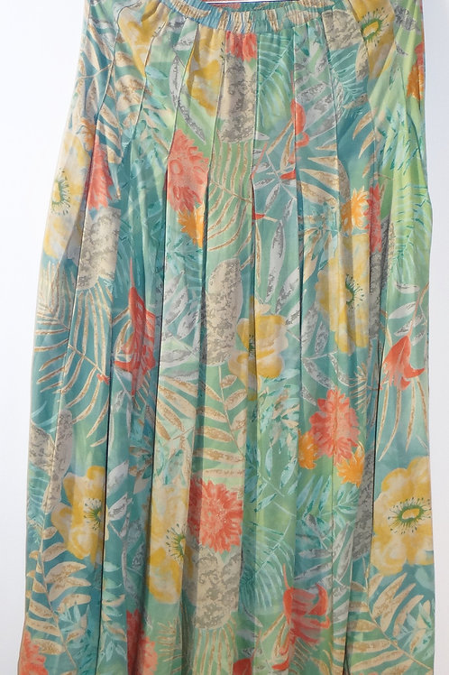 Pastel Tropical Floral Print Pleated Cotton Skirt