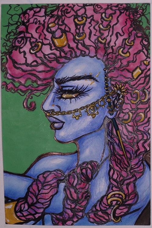 Goddess of Strength Original Mixed Media Portrait
