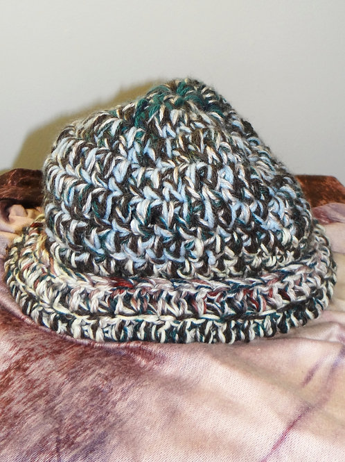 Blue Brown and Teal Chunky Knit Winter Hat