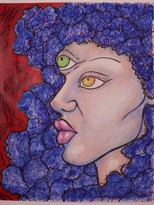 The Goddess of Faith Original Mixed Media Portrait