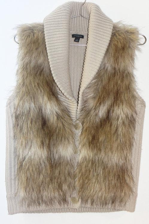 Tan Faux Fur Merino Wool Sweater Vest