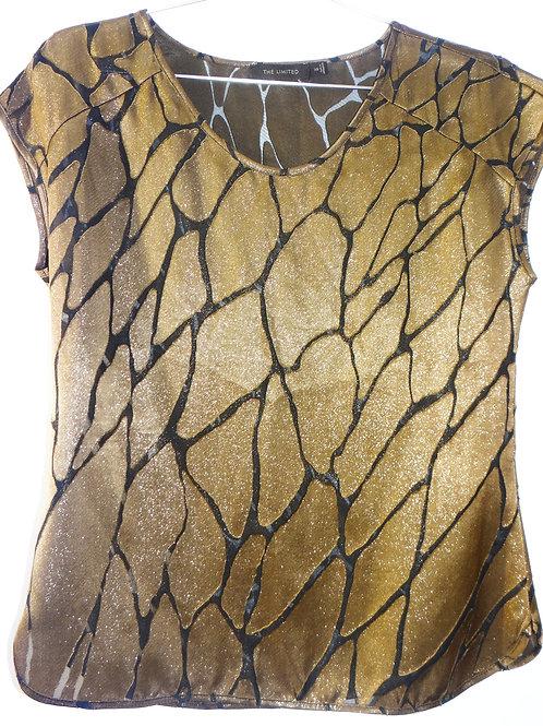 Glittery Metallic Brass Sheer Peekaboo Print Blouse