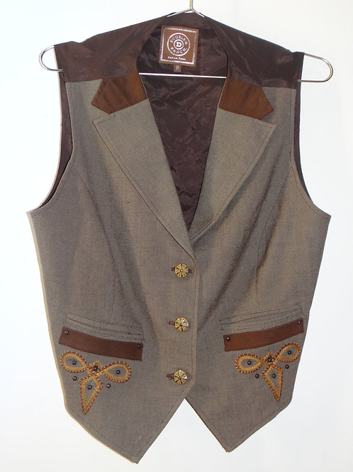 Western Style Brown Embroidered Vest
