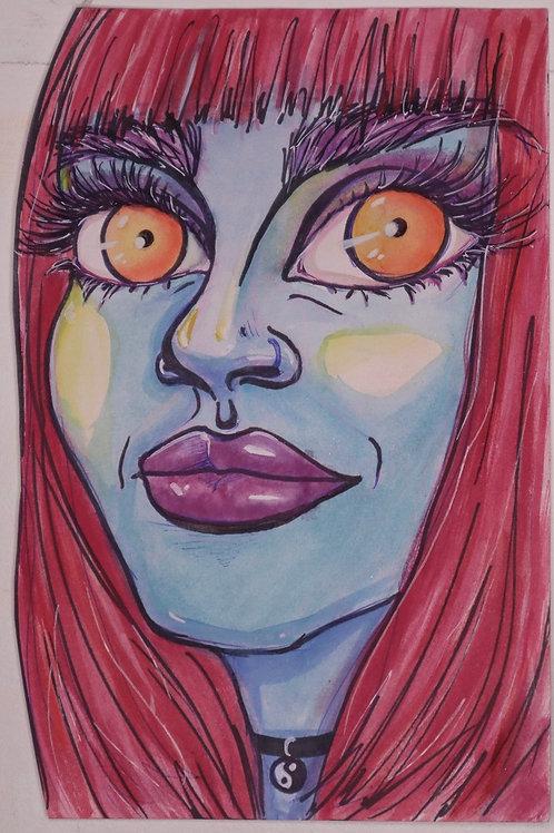 Sunset Eyes Original Watercolor Portrait