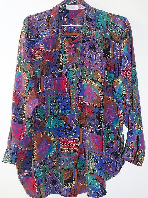 80s Vintage Multi Color Funky Print Button Blouse