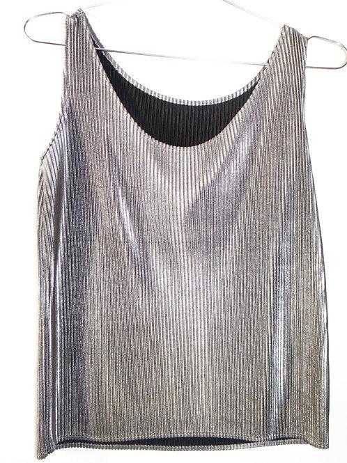 Glittery Metallic Silver Pleated Crop Tank Top
