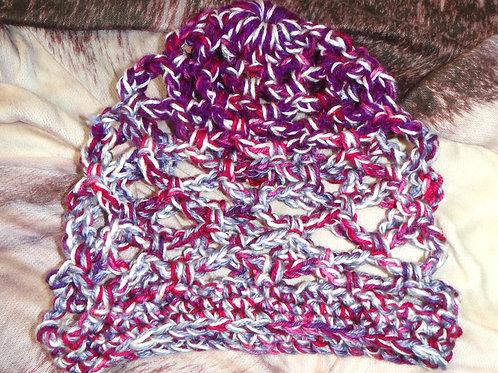 Purple Fuchsia White and Grey Lace Knit Wool Hat