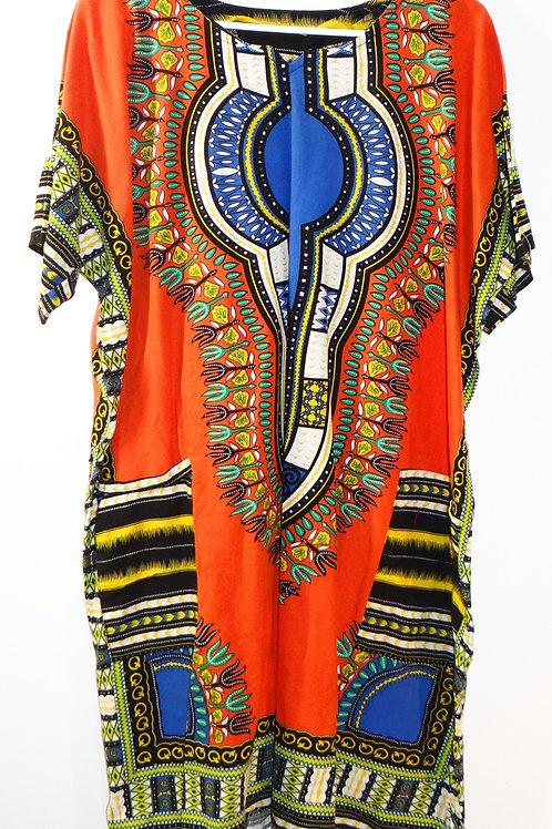 Bright Orange Dashiki Dress with Pockets