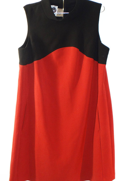 Sporty Rust Orange and Black Color Block Mock Neck Dress