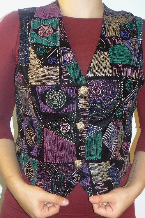 Vintage 80's Multi Color Geo Print Embroidered Sparkle Vest