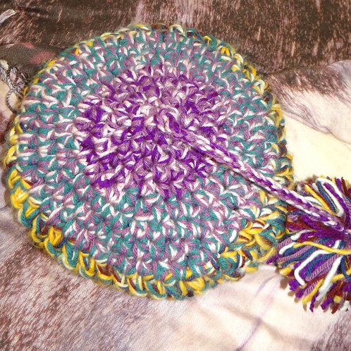 Rainbow Knit Beret with Pom Pom