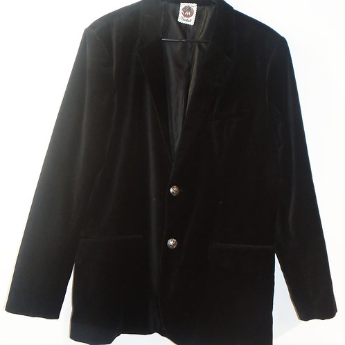 Black Velvet Blazer with Vintage Engraved Silver Buttons