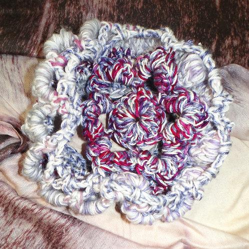 Purple Flower Lace Knit Winter Hat