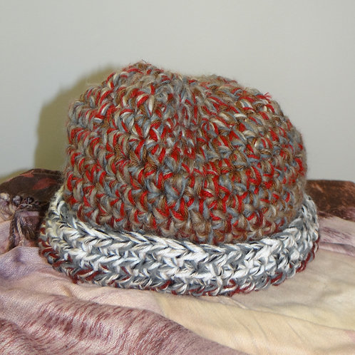 Red Brown and Grey Chunky Knit Winter Hat