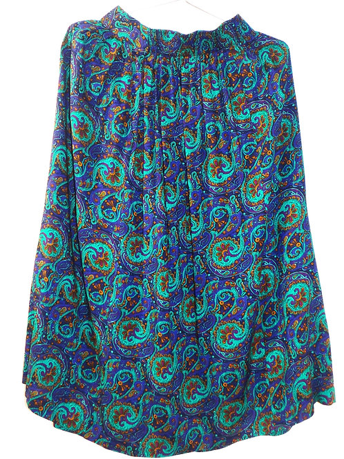 Vintage Blue and Turquoise Floral Paisley Skirt
