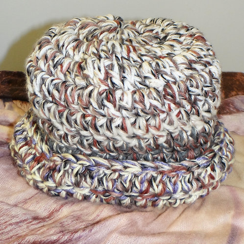 Dusty Rose Lavender and Grey Chunky Knit Winter Hat