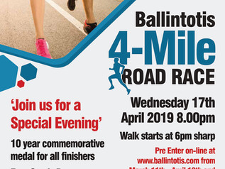BALLINTOTIS 4 MILE ROAD RACE  CELEBRATES 10TH YEAR