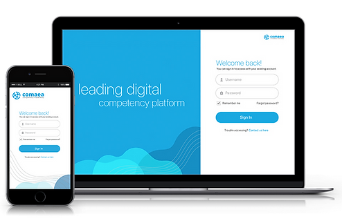 image showing a login page of comaea competency management software- request a demo now