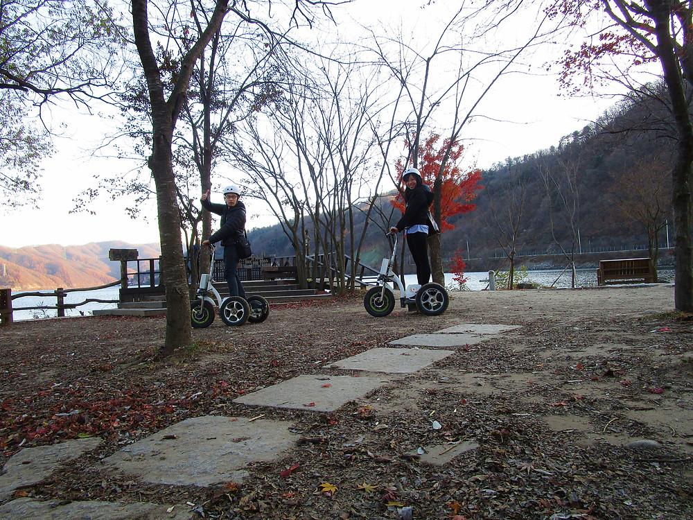Nami Island on electric bikes