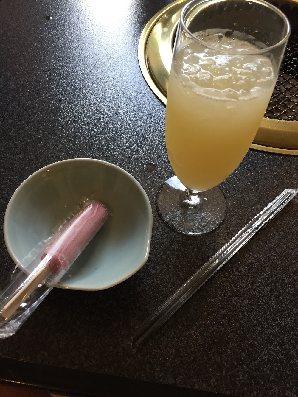 Service drink with a popsicle