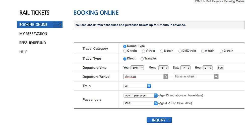 Booking Korail Tickets