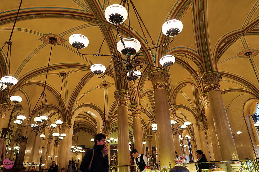 Beautiful interior of Cafe Central in Vienna