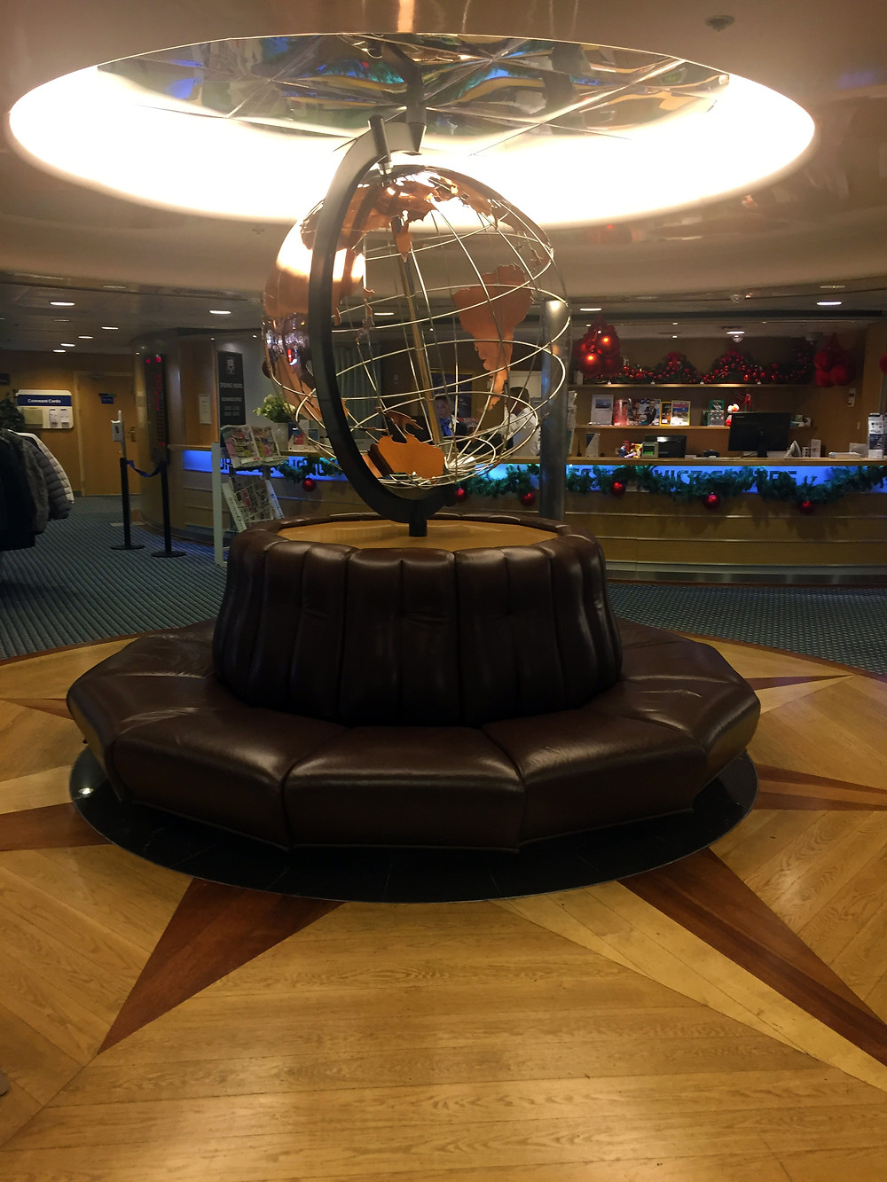 View of the lobby onboard the DFDS cruise to Copenhagen, Denmark